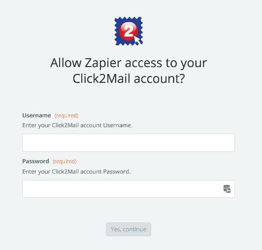 Click2Mail username and password