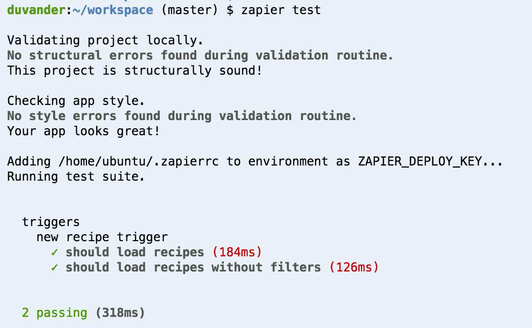 Output from zapier test