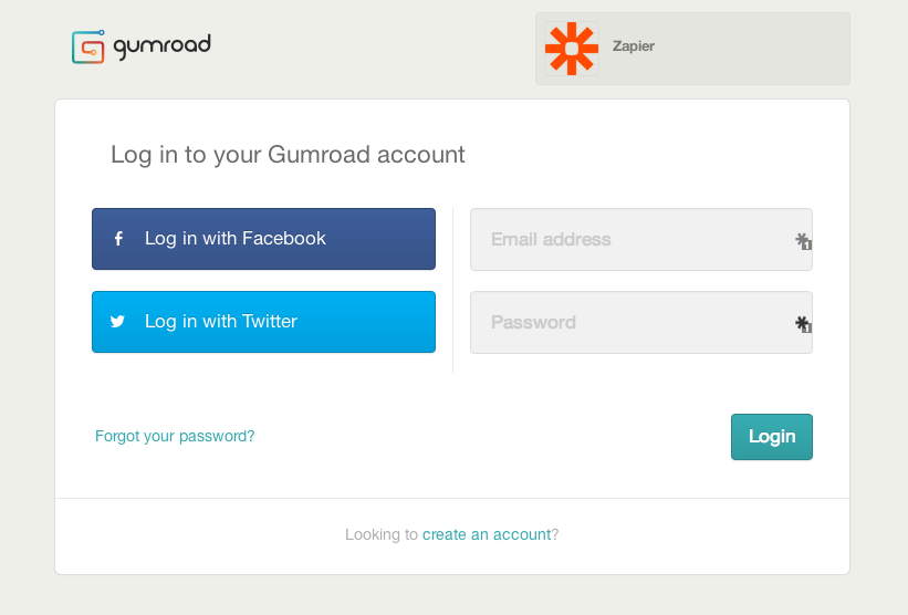 Log in to authorize your Gumroad account