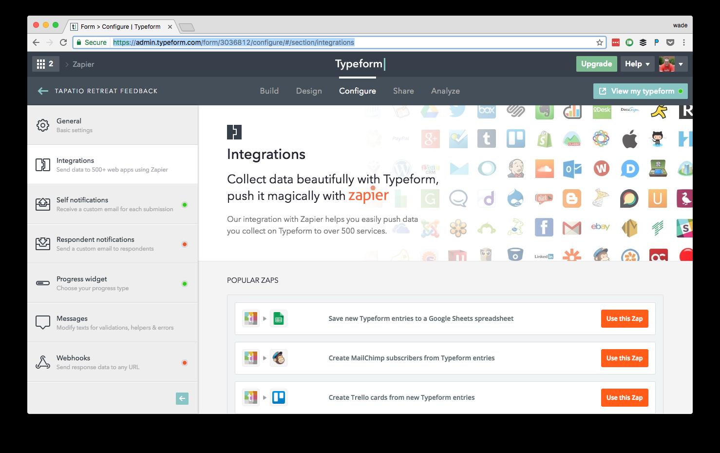 Typeform integrations