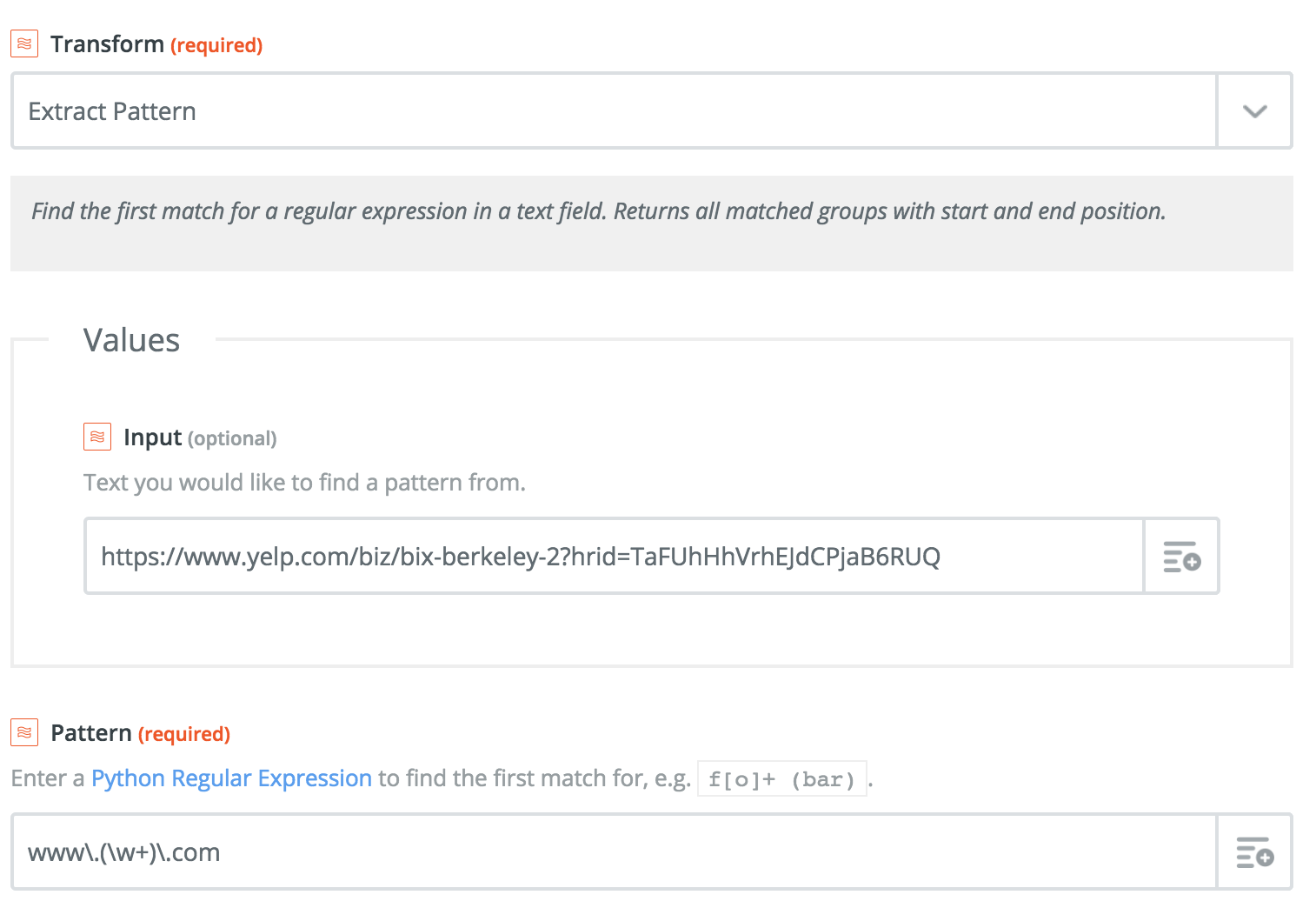 Using Python RegEx in Zapier Formatter Extract Pattern - Stack Overflow