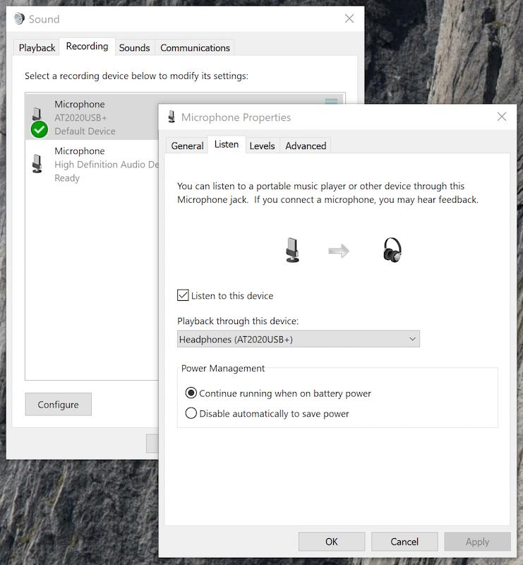 Windows sound recording settings