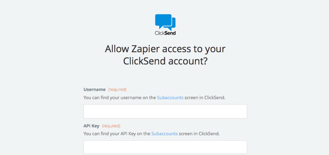 ClickSend SMS username and API Key