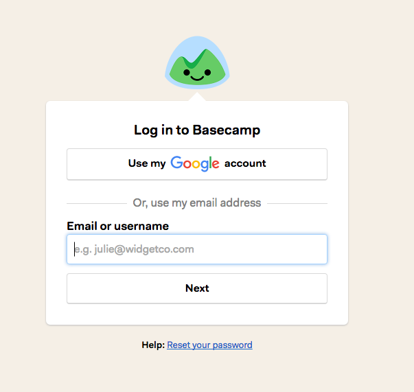 Basecamp 3 username and password