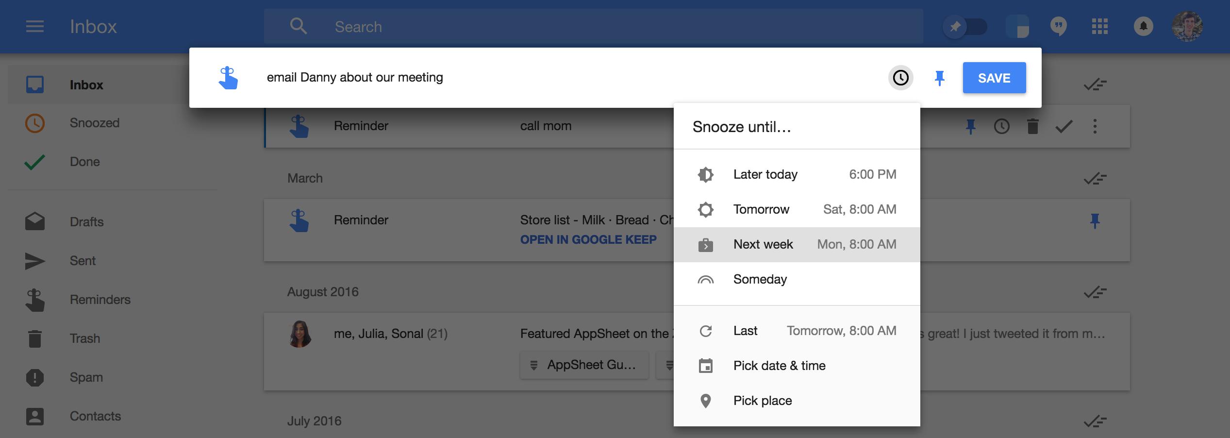 Google Inbox Reminders