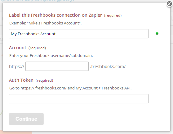 Provide Zapier your Freshbooks account details