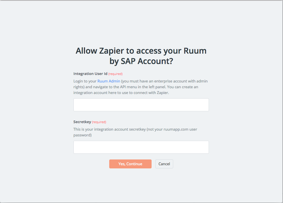 Ruum by SAP username and password