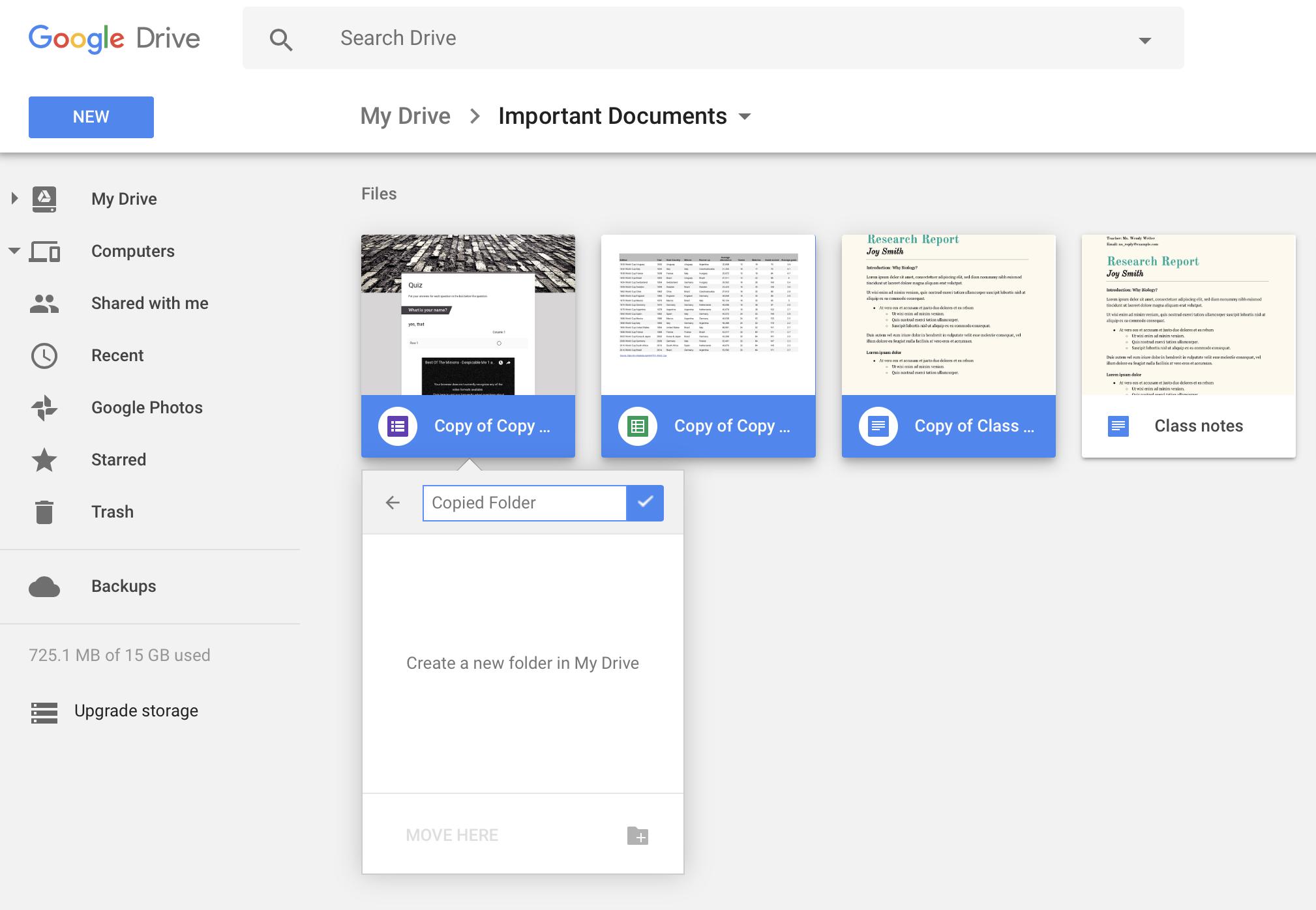 Move copied files in Google Drive