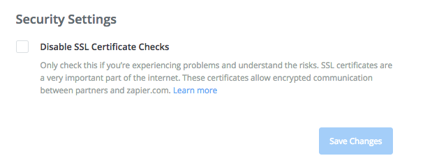 Disable SSL Certificate Checks on Zapier