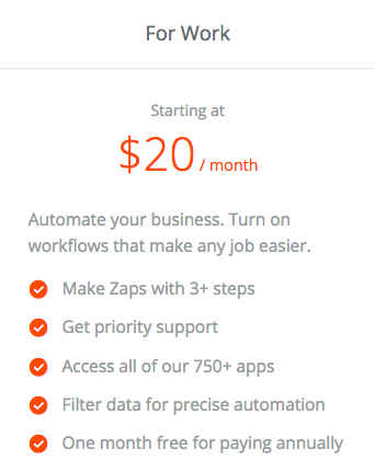 Zapier paid plan