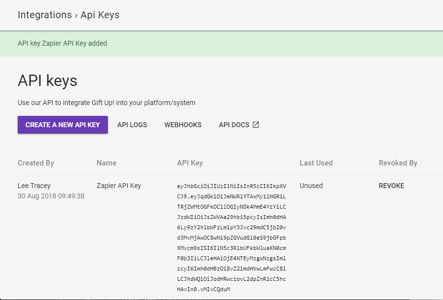 Gift Up! API Key in account