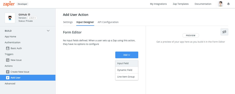Zapier input designer