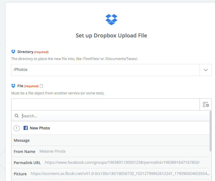 Facebook Groups Zap to Dropbox