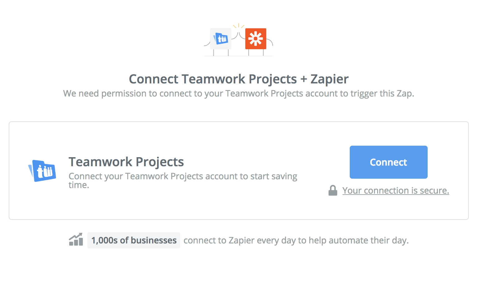 Click to connect Teamwork Projects