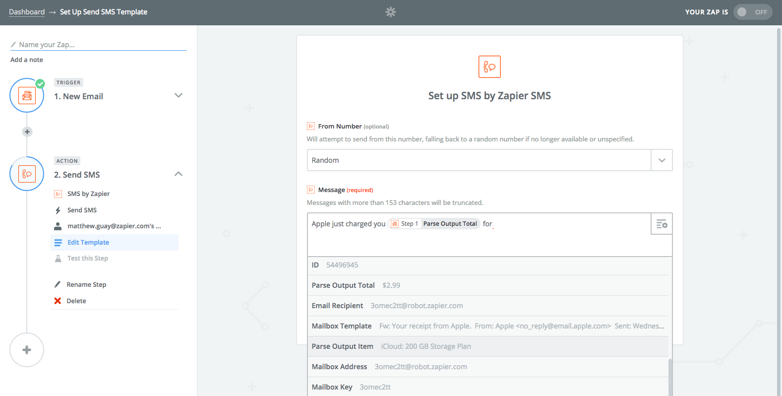 Zapier automation with email parser