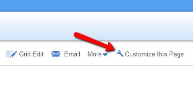 screenshot of customize table link