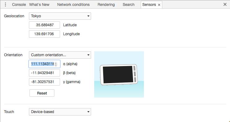 Chrome Inspect Element Sensors tab