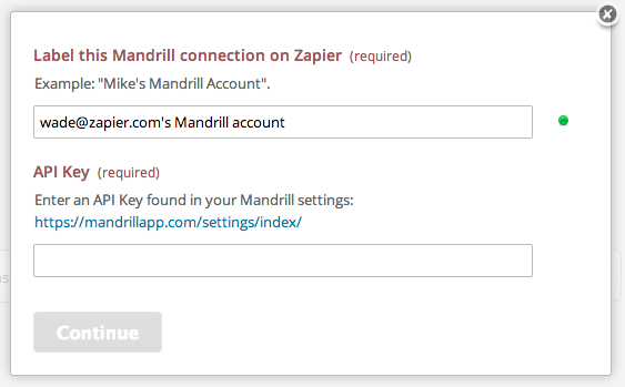 Mandrill Name and API Key