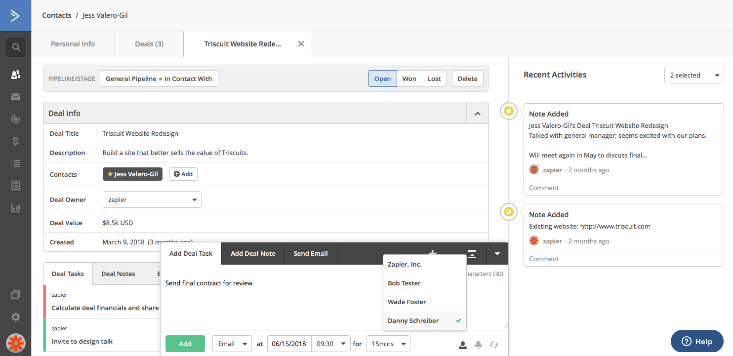 Assign Tasks in ActiveCampaign