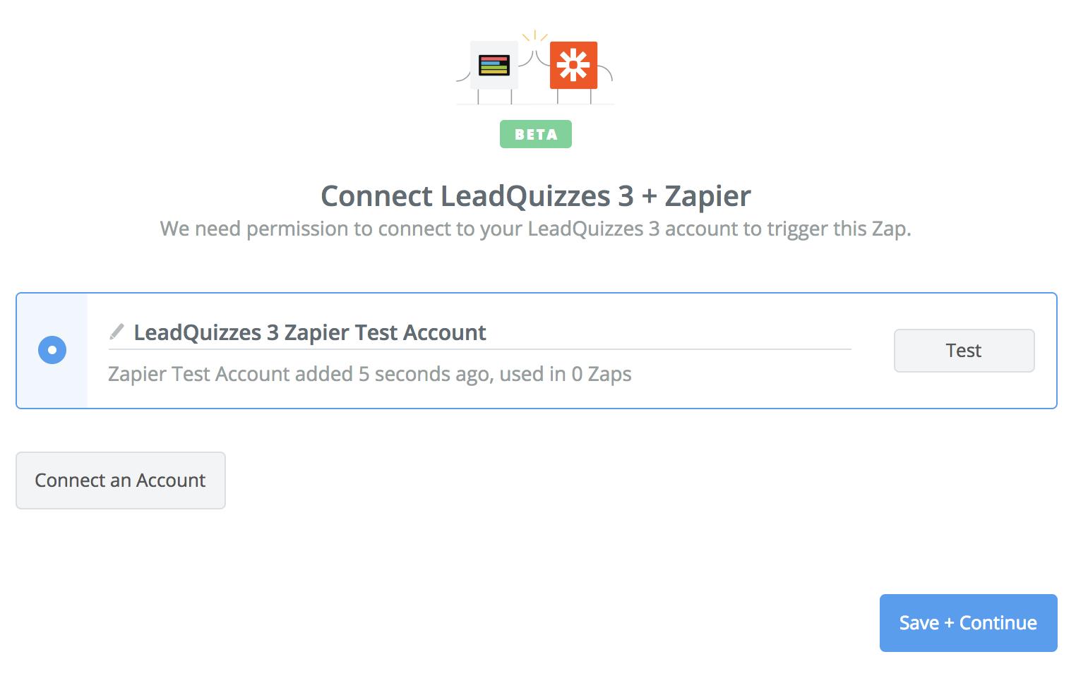 LeadQuizzes 3 connection successful