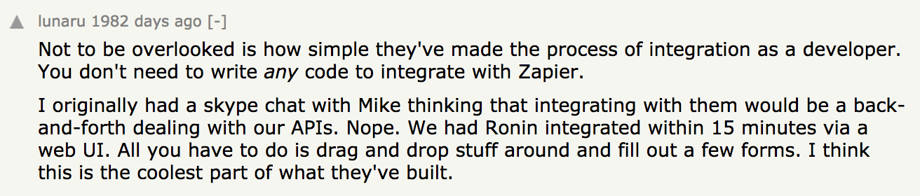 A develoer from Ronin commenting on the Zapier Develoer Platform news