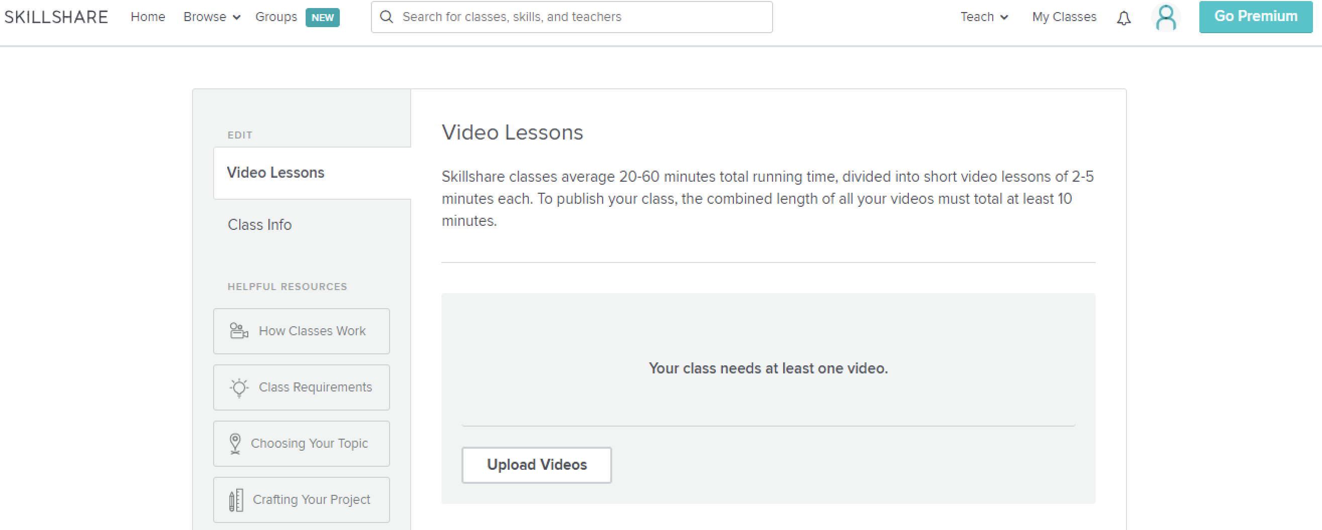 Skillshare course creation interface
