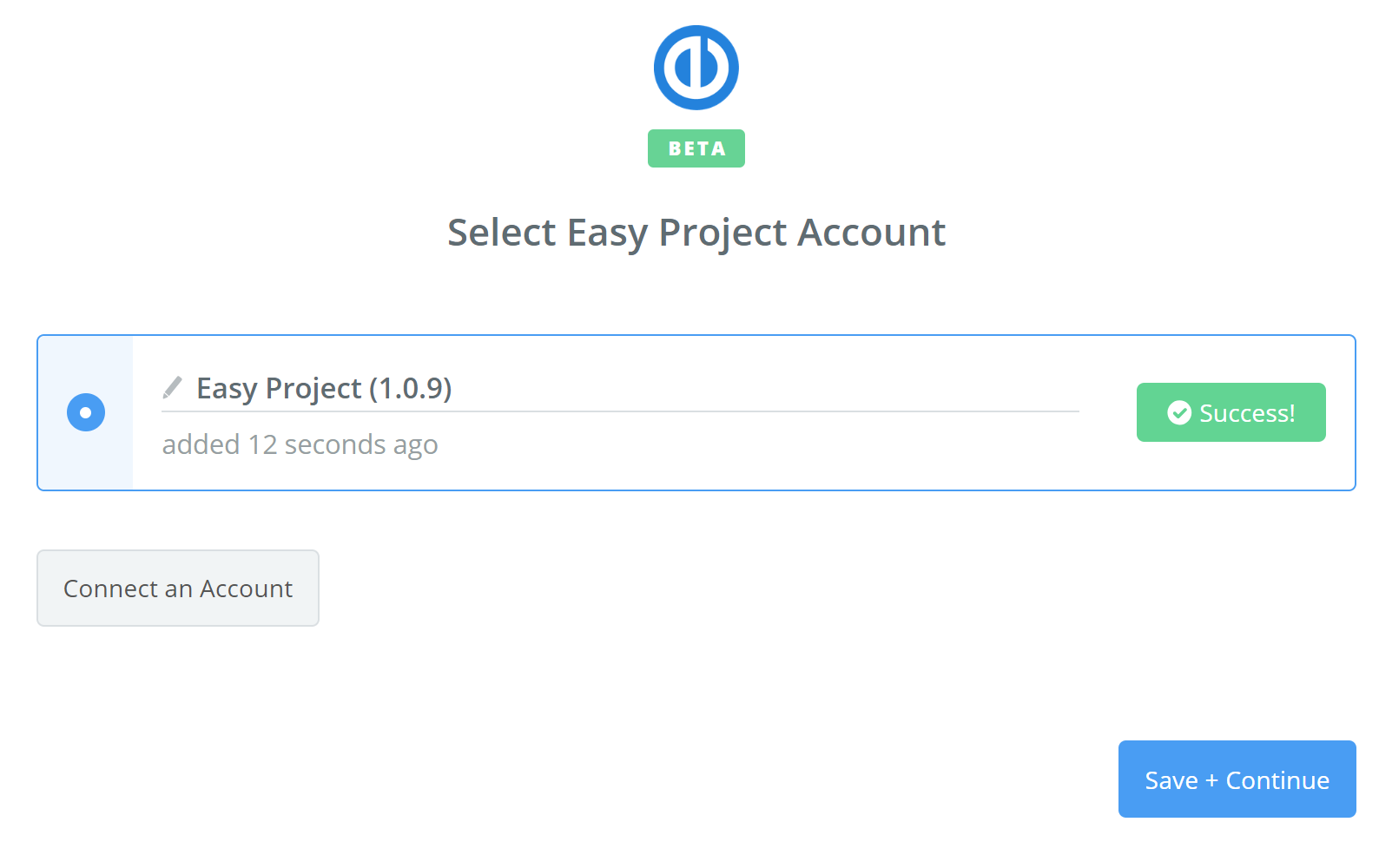Easy Project connection successful