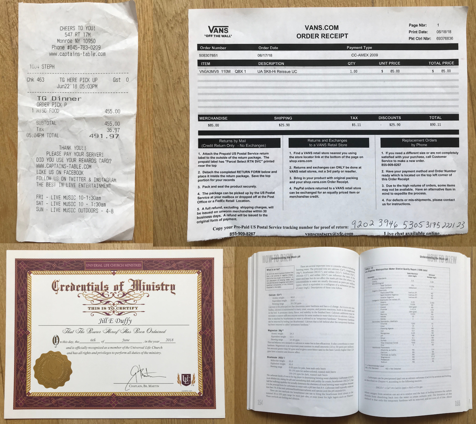 Four documents used for scanning and OCR tests