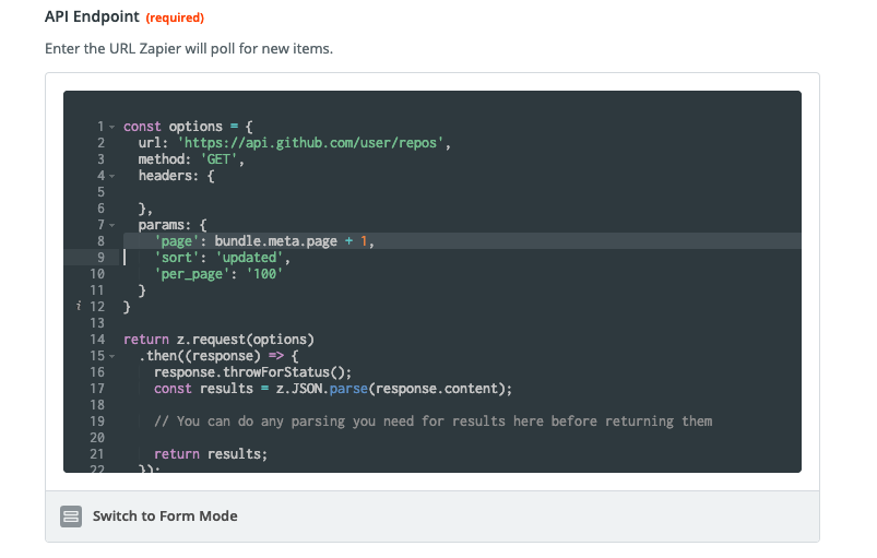 Zapier pagination code mode