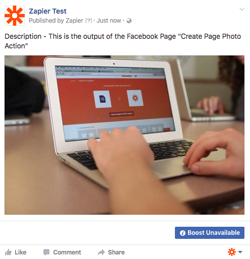 Create Page Photo Action Output