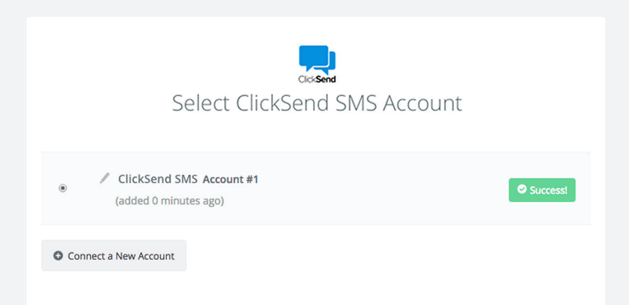 ClickSend SMS connection successfull