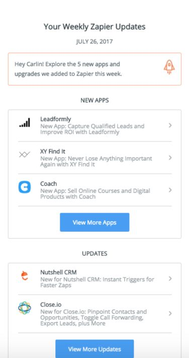 Zapier email featuring Close