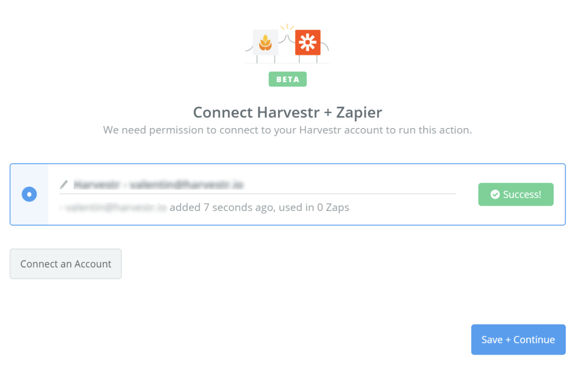 Harvestr connection successfull