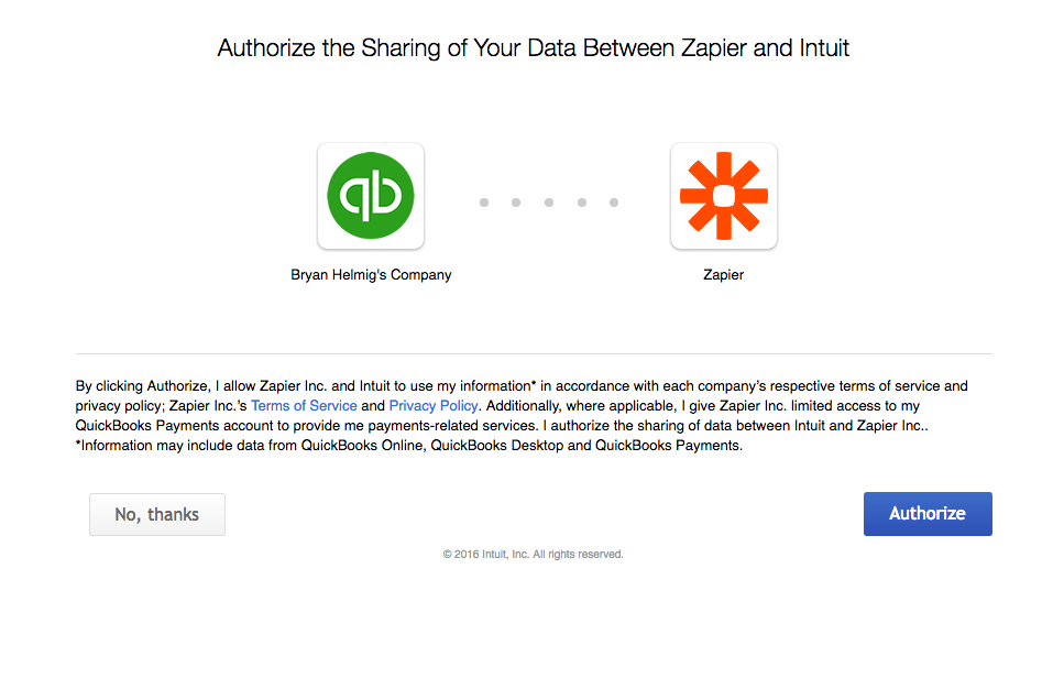 Authorize Zapier to access your QuickBooks account.