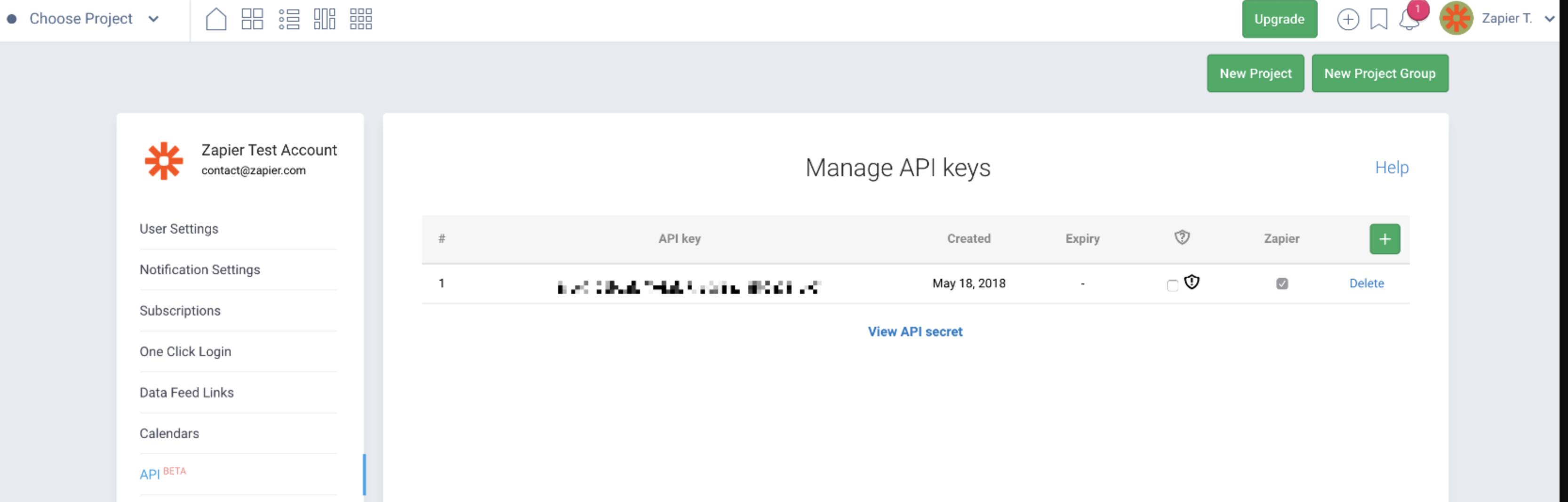 Freedcamp API Key in account