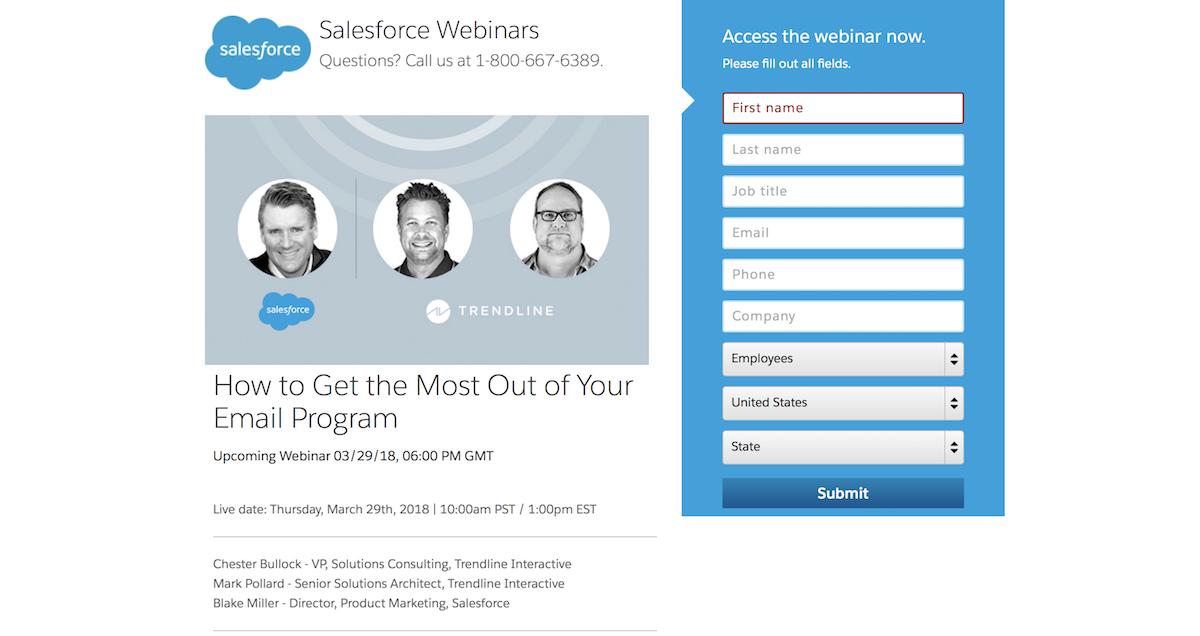 Salesforce webinar signup