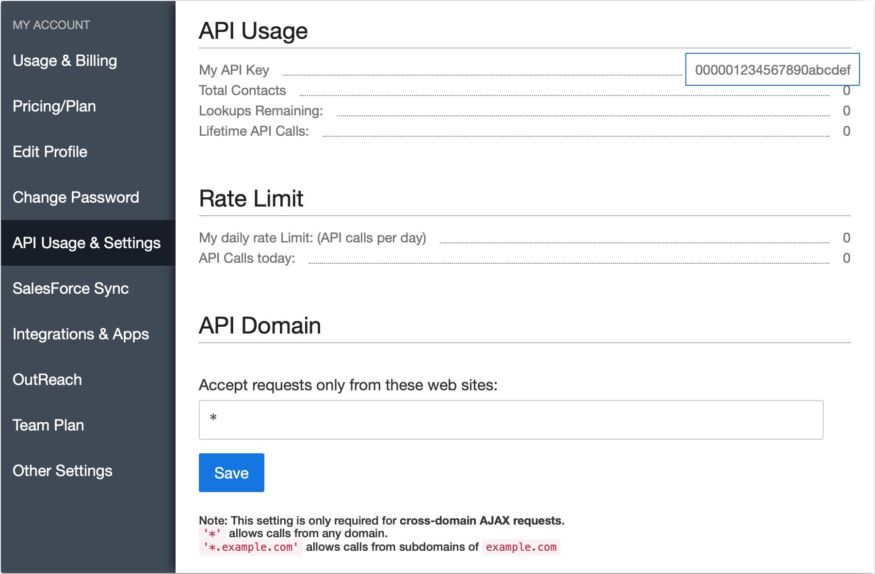 RocketReach API Key in account