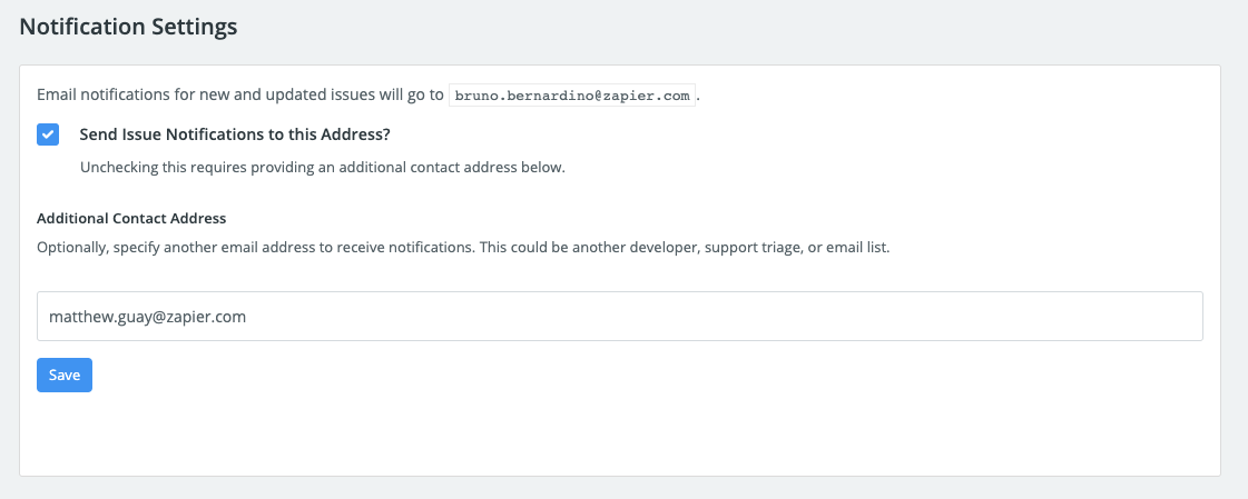 Get Zapier Integration Issue Notification Emails