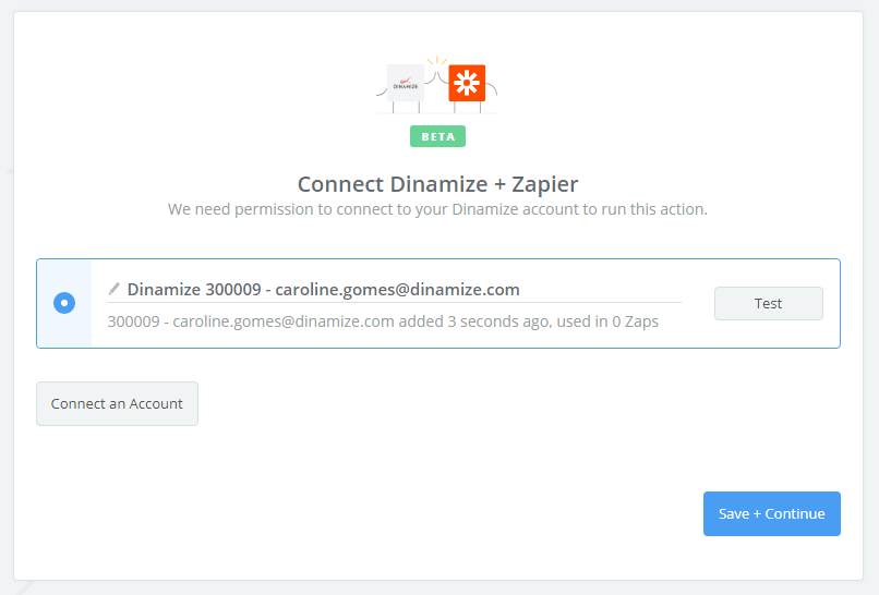 Dinamize connection successfull