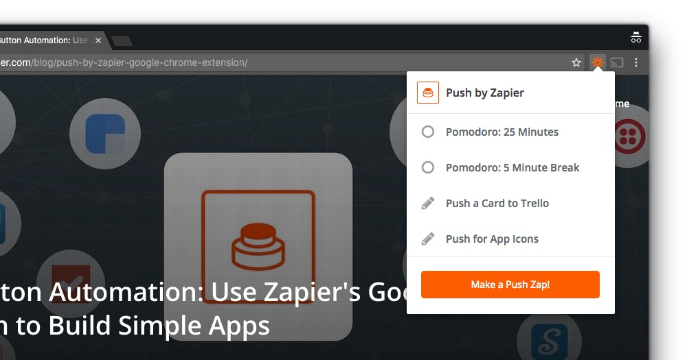Push by Zapier in the Chrome Browser