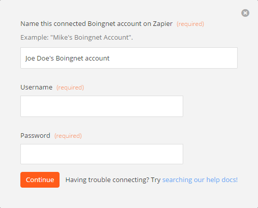 Boingnet Username and Password