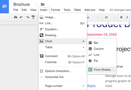 how to insert a google sheets spreadsheet into a google docs