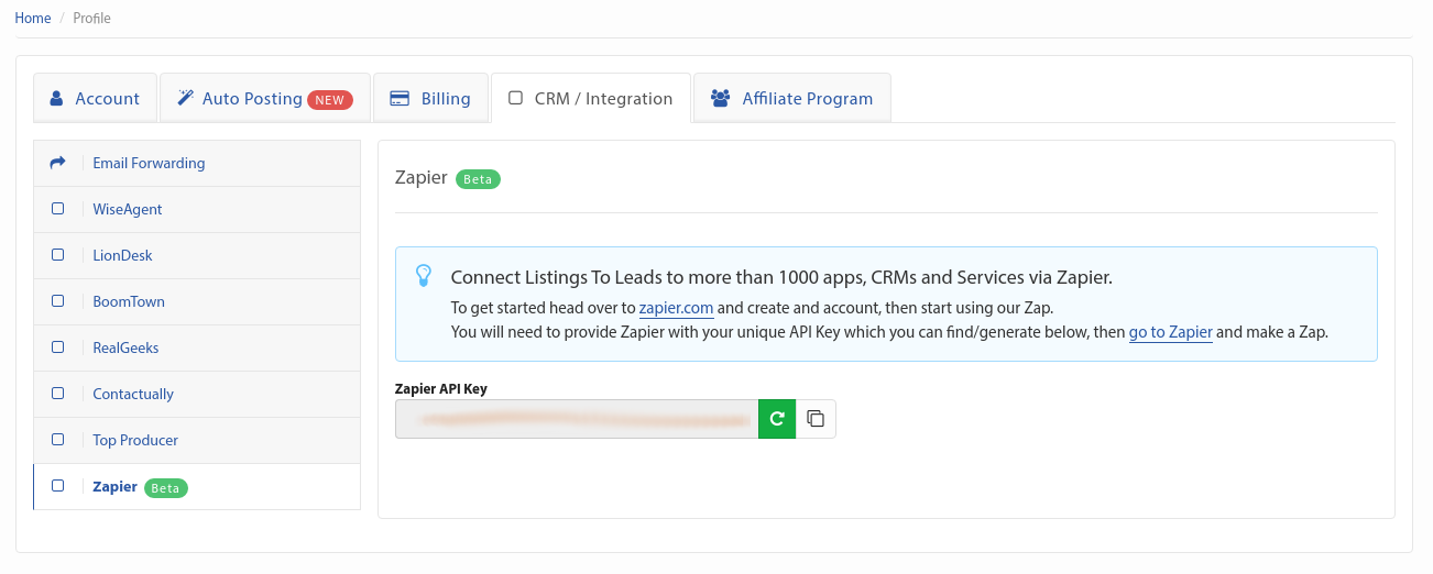 Listings To Leads API Key in account