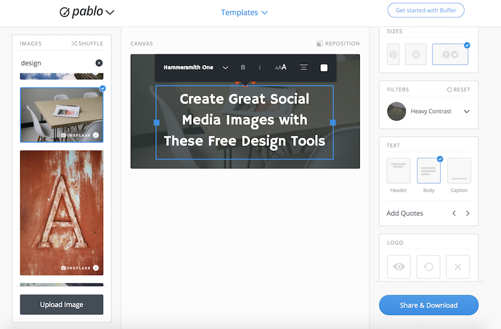 Pablo by Buffer lets you quickly create great social media images