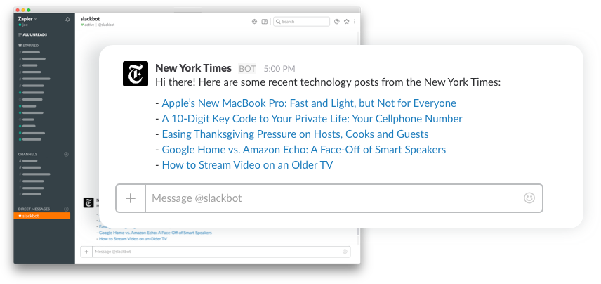 New York Times digest in Slack