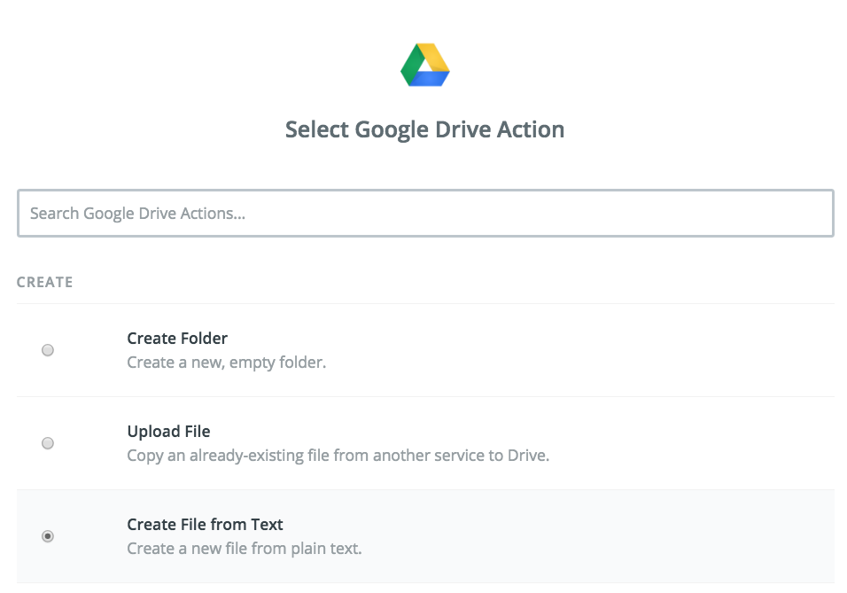 "Choose ""Create File from Text Action"
