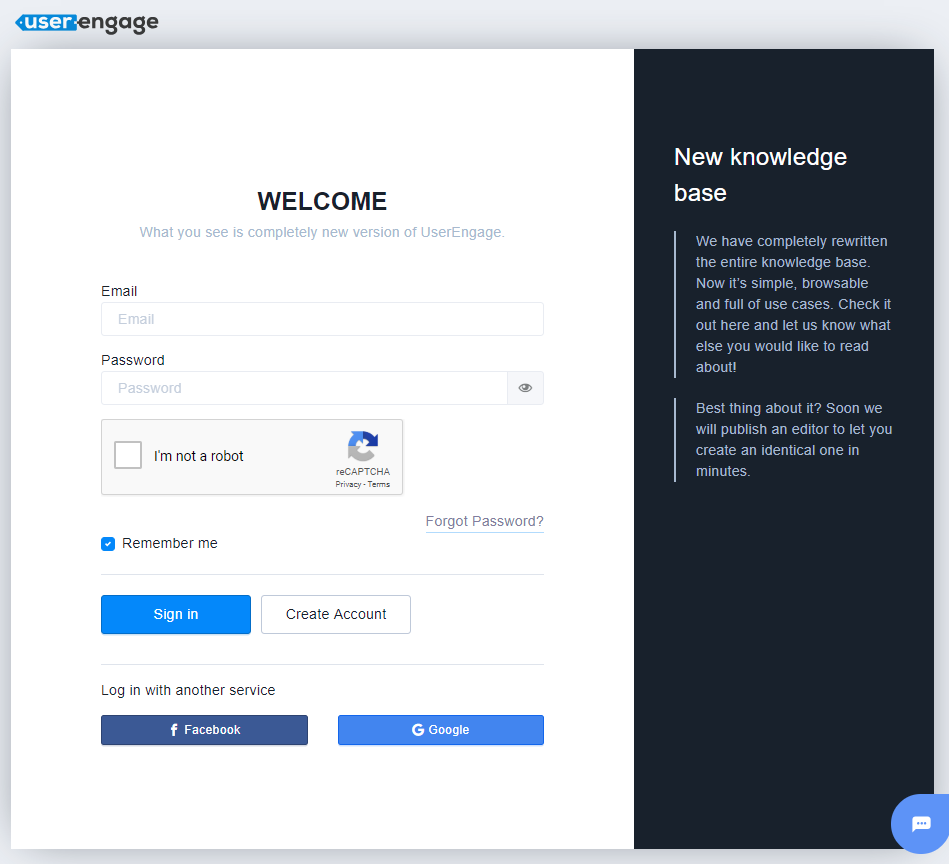 Login to UserEngage