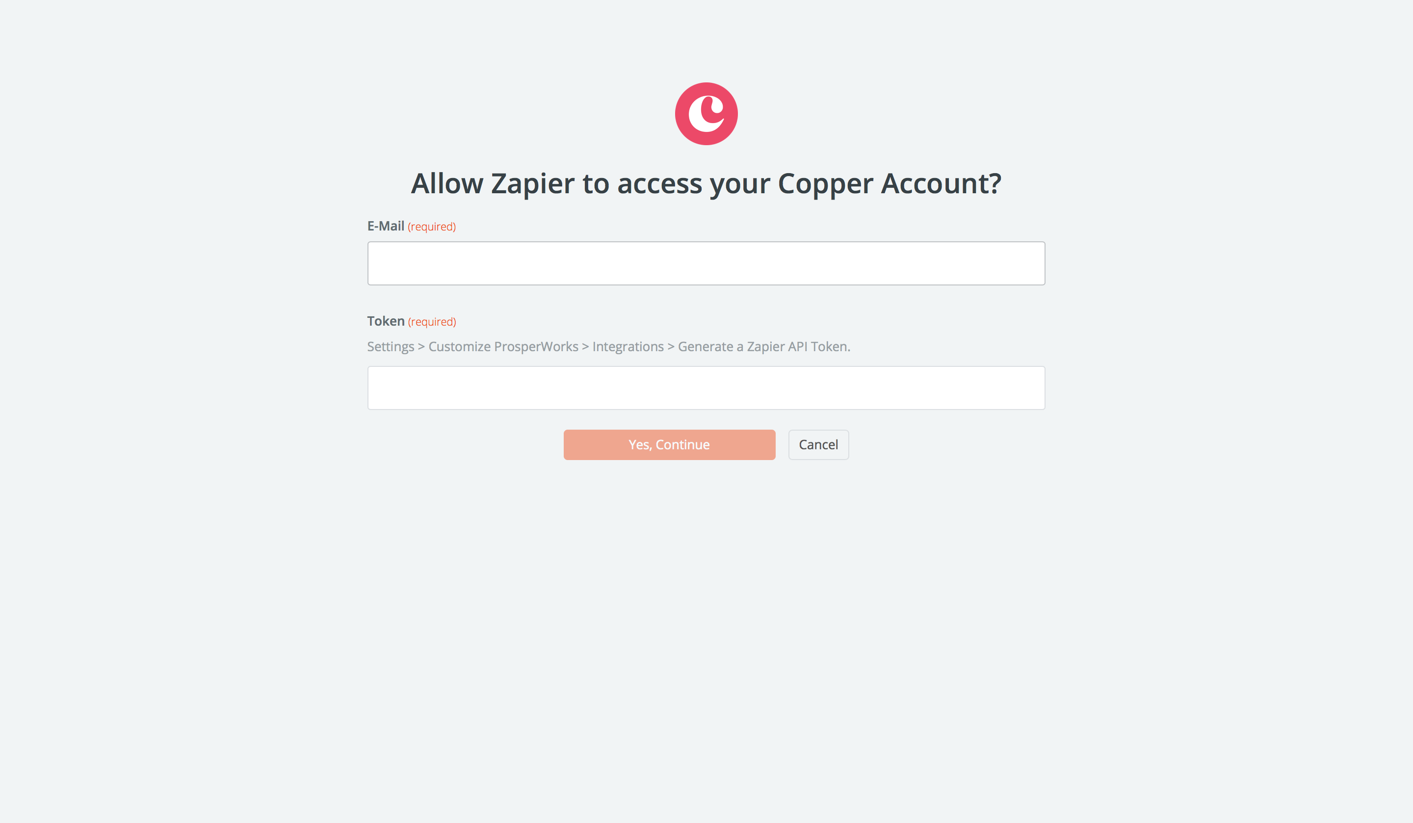 Copper username and password