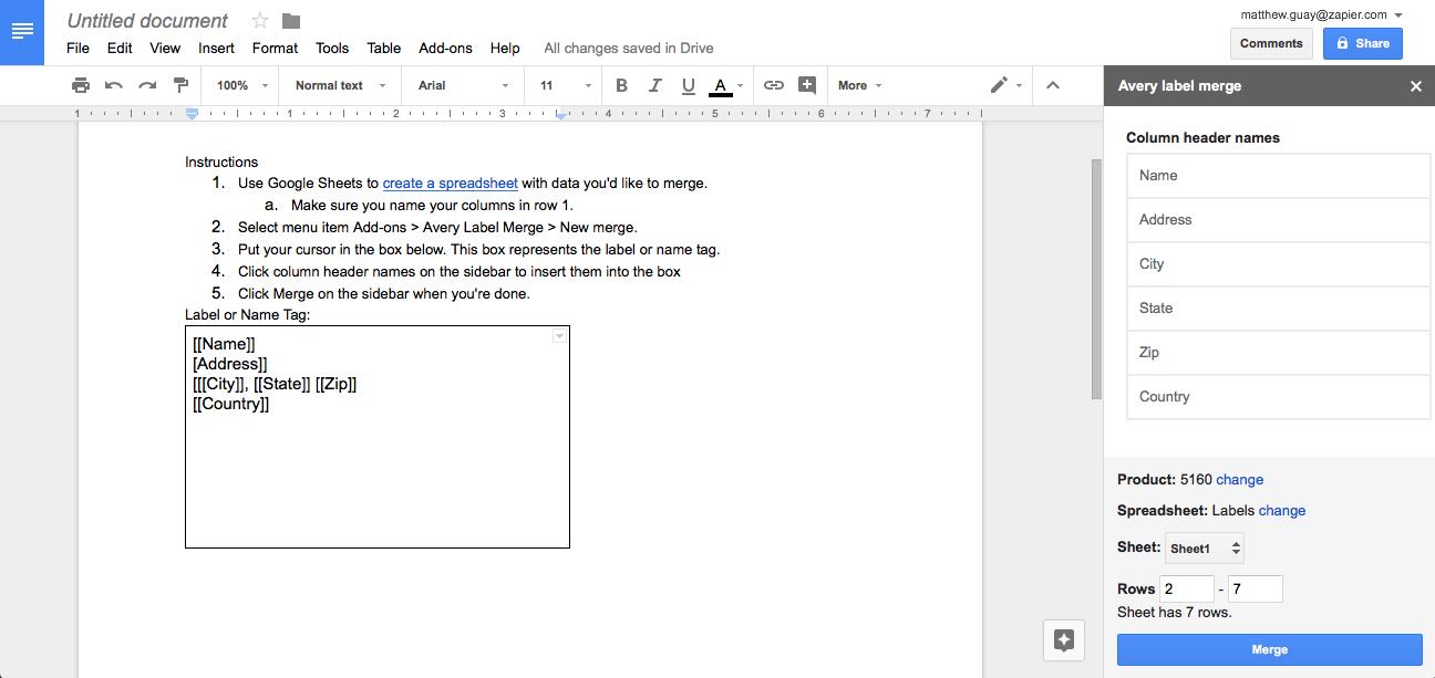 Avery Label Merge Google Sheets