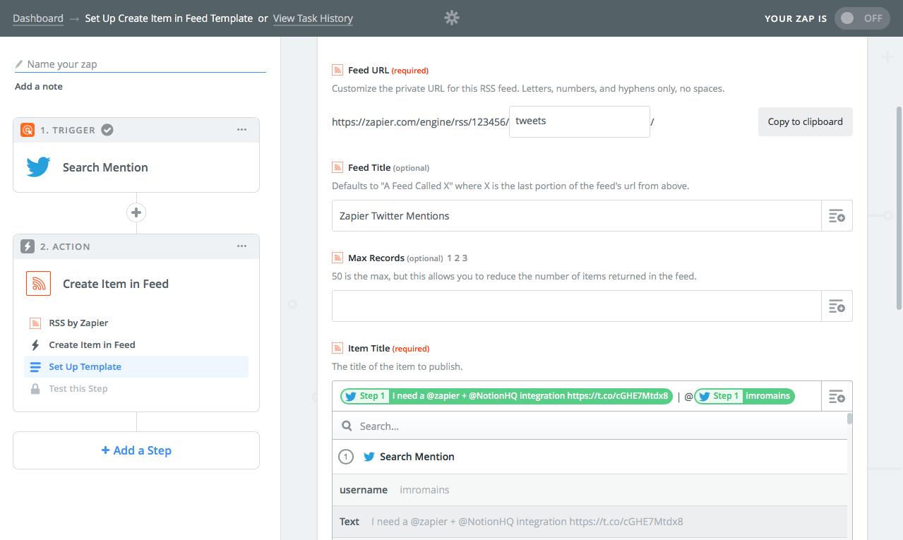 Create custom RSS feed in Zapier